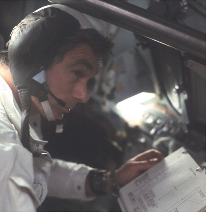 Commander Eugene Cernan of the Apollo 17 mission wristed with his Speedmaster Moonwatch, worn under-side his wrist so that he could easily refer to the watch face without turning his wrist.