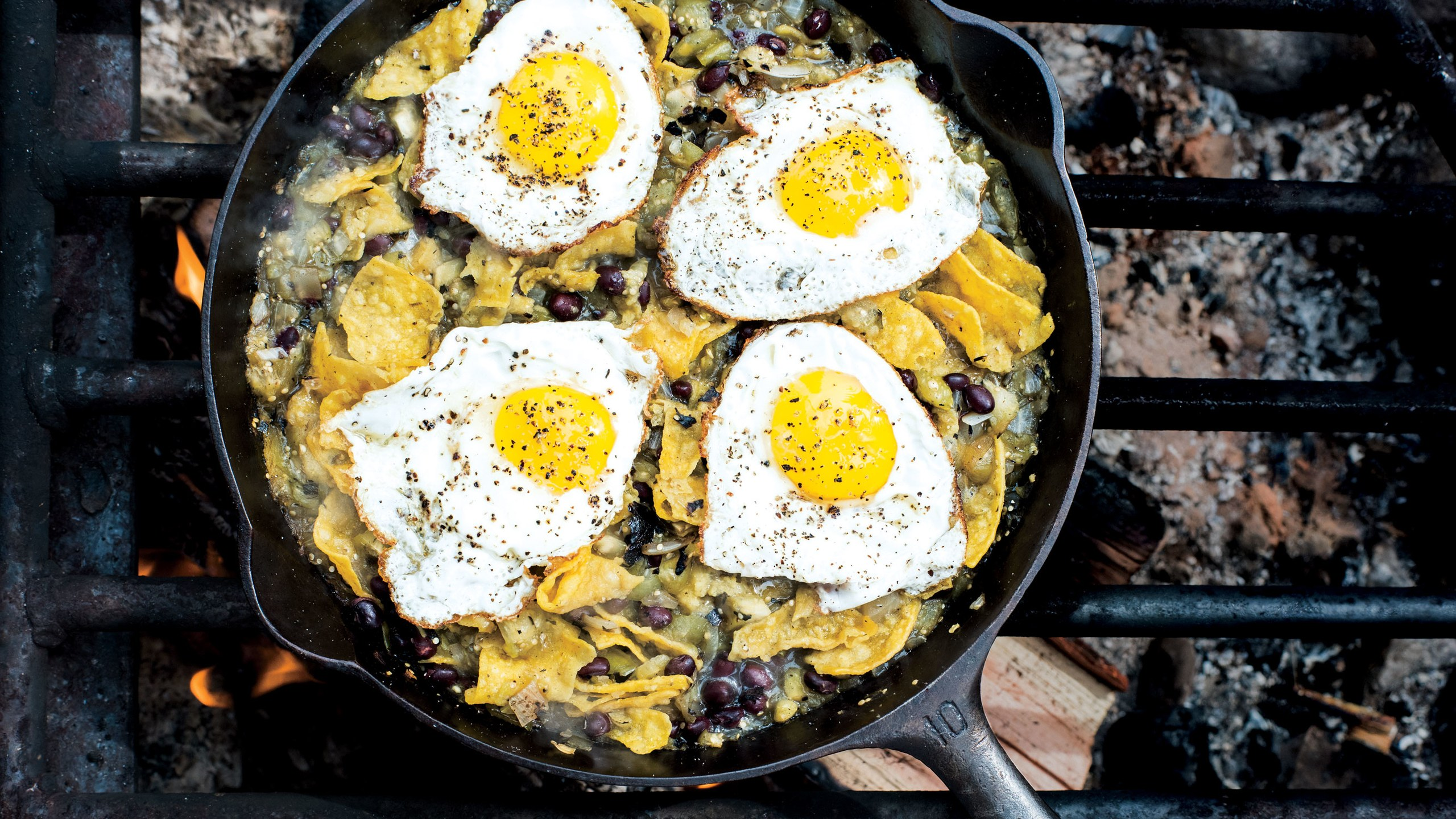 Chilaquiles with Blistered Tomatillo Salsa and Eggs Gourmet Camping Recipes for Your Glamping Adventure