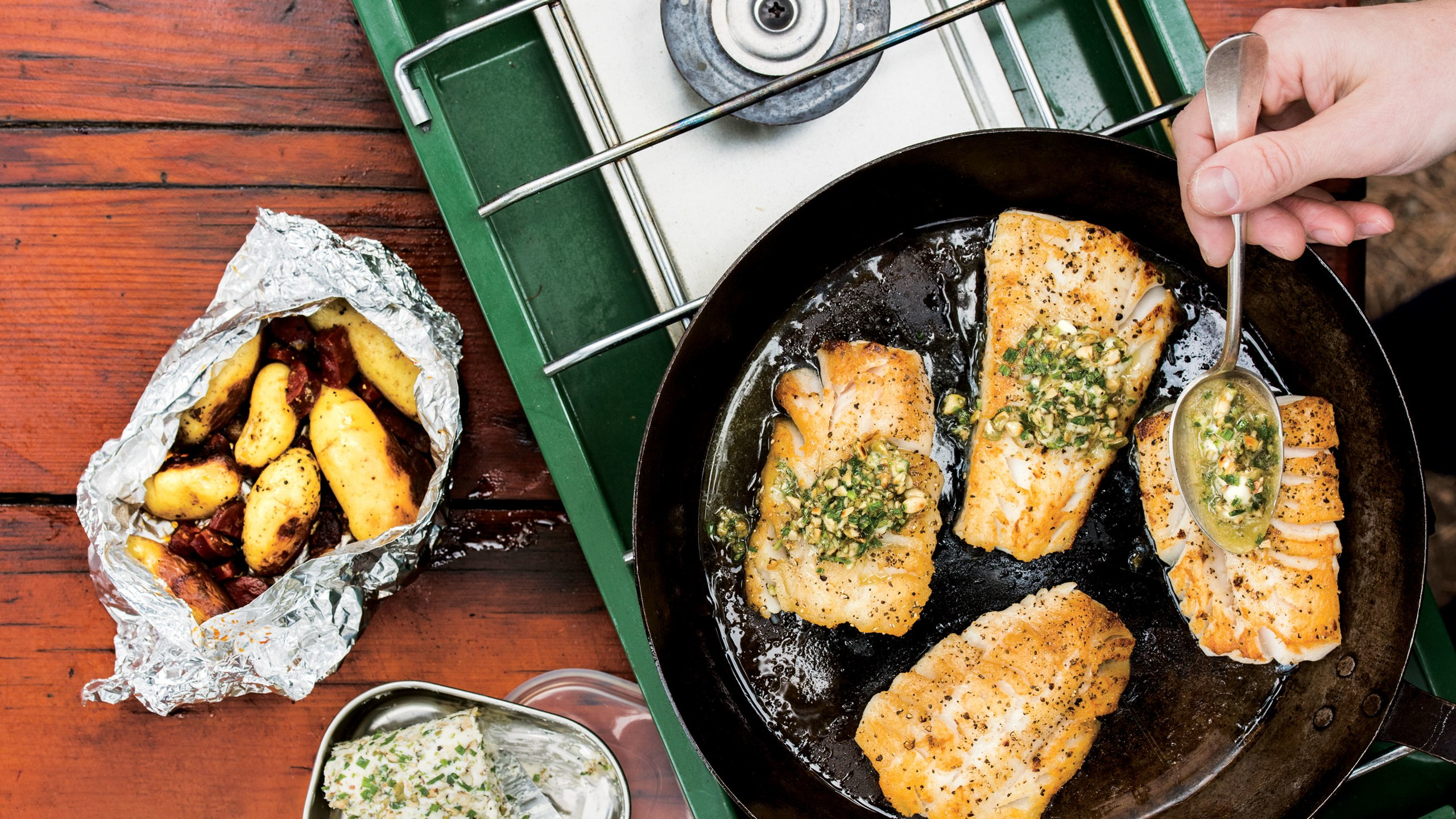 Seared Cod with Potato and Chorizo Hobo Bags Gourmet Camping Recipes for Your Glamping Adventure