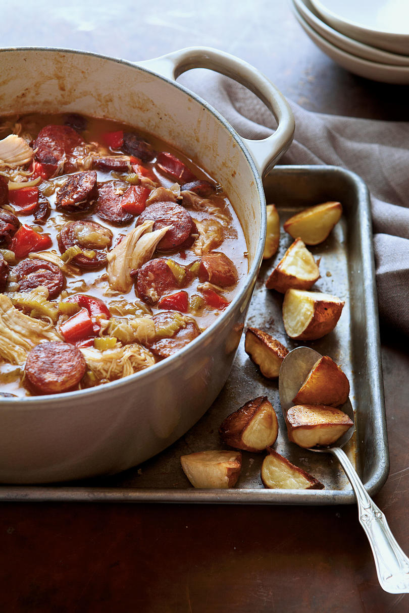 Chicken-Andouille Gumbo with Roasted Potatoes Mardi Gras Dishes: Delectable Dishes Everyone Needs to Try