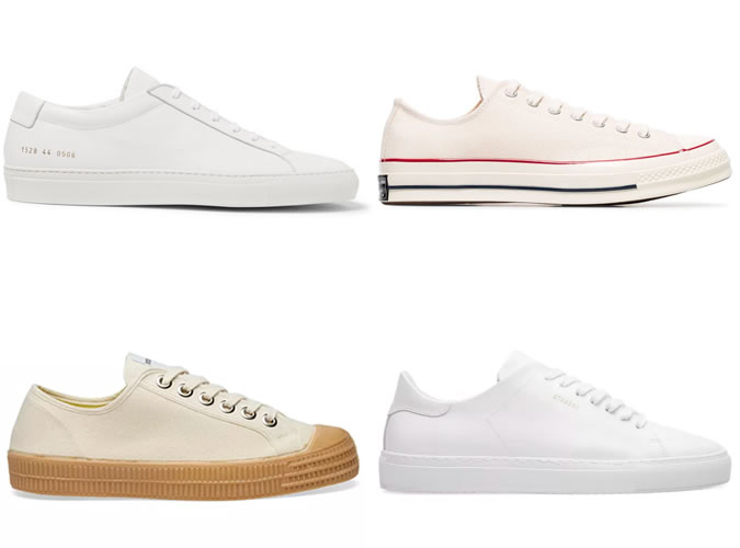 White and natural coloured men's trainers