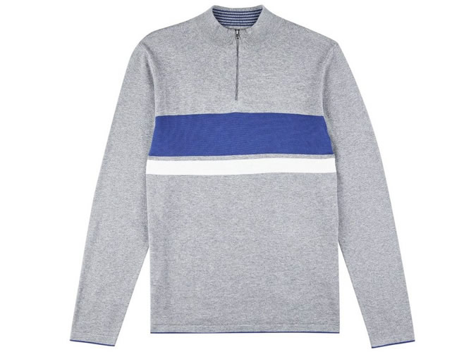 Grey Striped Half Zip Jumper