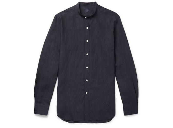 BEAMS F Grandad-Collar Linen Shirt