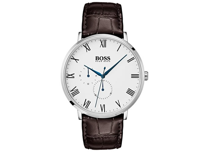 Polished stainless-steel watch with enamel dial and leather strap