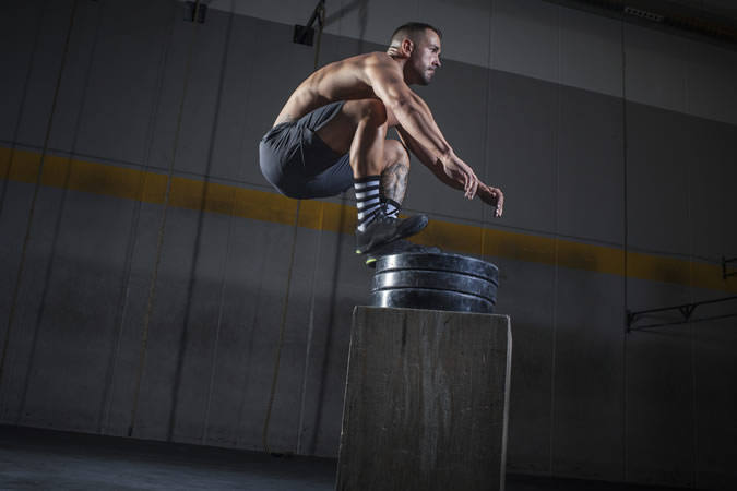 Athlete vertical jumping