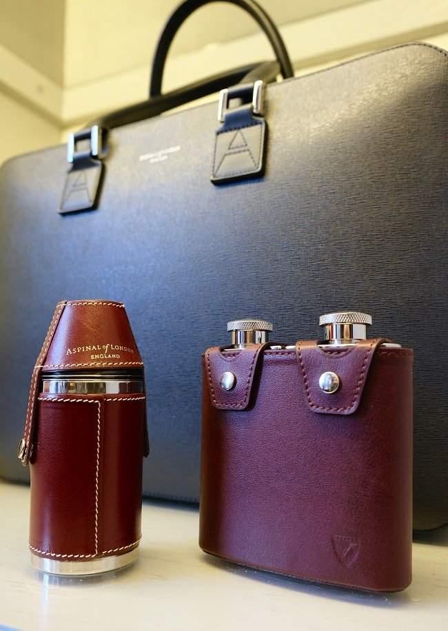 Aspinal Double Leather Hip Flask