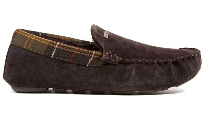 Barbour Monty faux fur lined slippers in brown