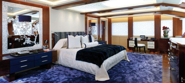 Equanimity's master suite has a large study that can convert into a double cabin