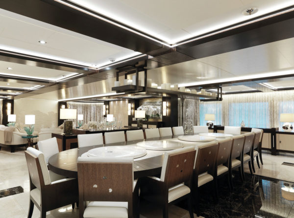 The yacht offers formal dining for up to 18 guests