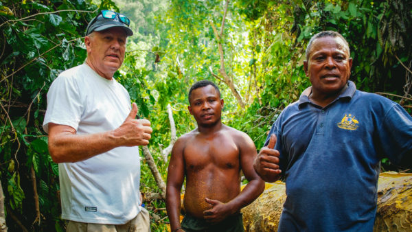 Mark Robba (left) is passionate about the new Learning Center in Raja Ampat