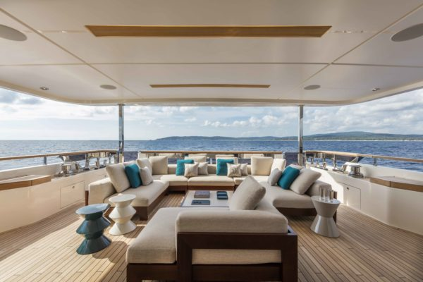 The upper deck has an enormous covered aft area, which could feature a dining table if required