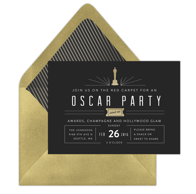 mod invitation from Greenvelope Ultimate Oscars Party Guide