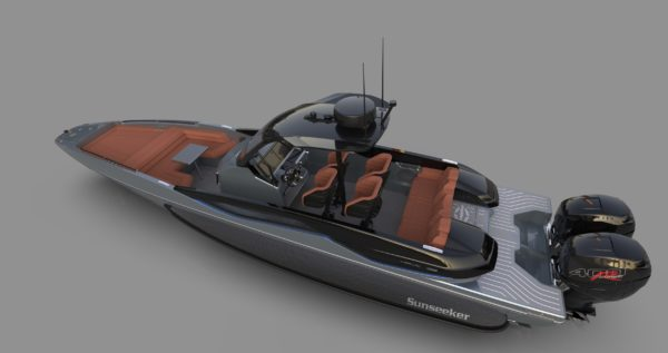 The boat has four FB Design racing seats and a triple bench seat at the stern.