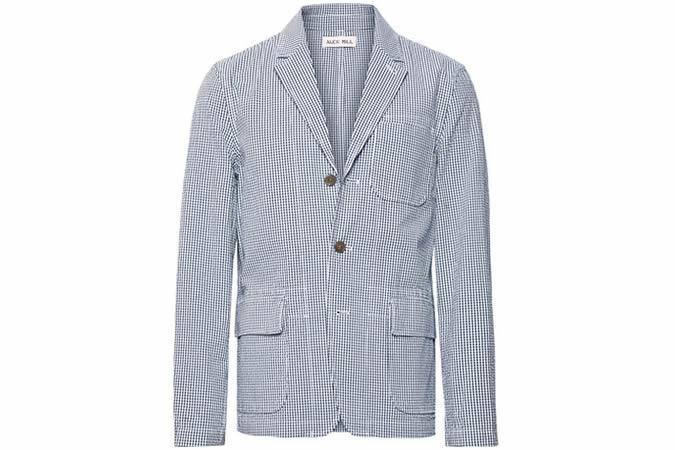 ALEX MILL Storm-Blue Unstructured Gingham Cotton-Seersucker Blazer