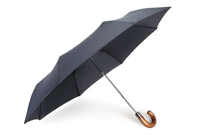 Navy Wooden Handle Umbrella