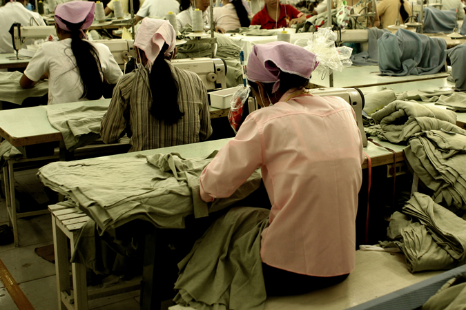 Workers at garment factory