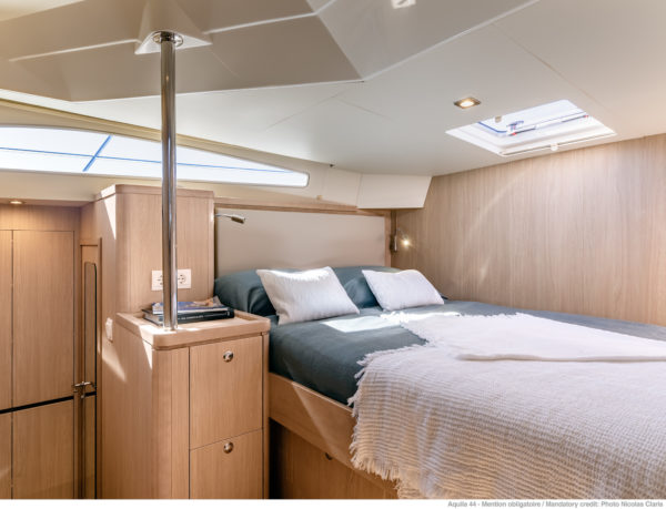 One of two forward guest rooms on the new four-cabin version of the Aquila 44