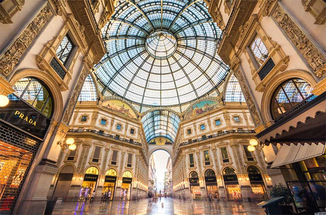 One of two global luxury meccas - The Galleria Vittorio Emanuele II, Italy's oldest active shopping mall and a major landmark of Milan