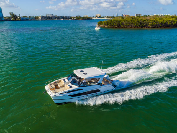 The foredeck has a well protected, modular seating area offering sitting and sunbathing options